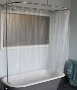 Add-a-shower with D Curtain Rod & Porcelain Lever Handles and Daisy Shower Head