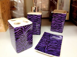 Purple Zebra Bathroom Set