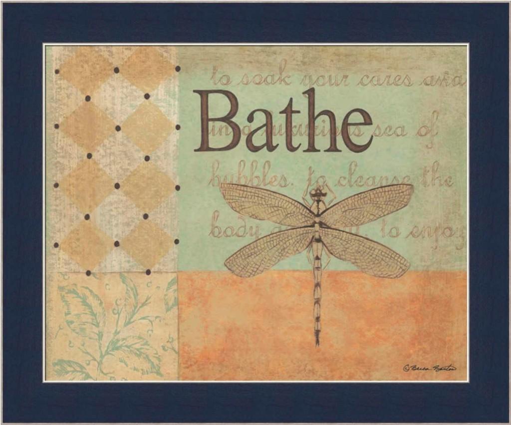 Dragonfly bathroom decor - Bathe Framed Art Print Summary Dragonfly Bathroom Decor