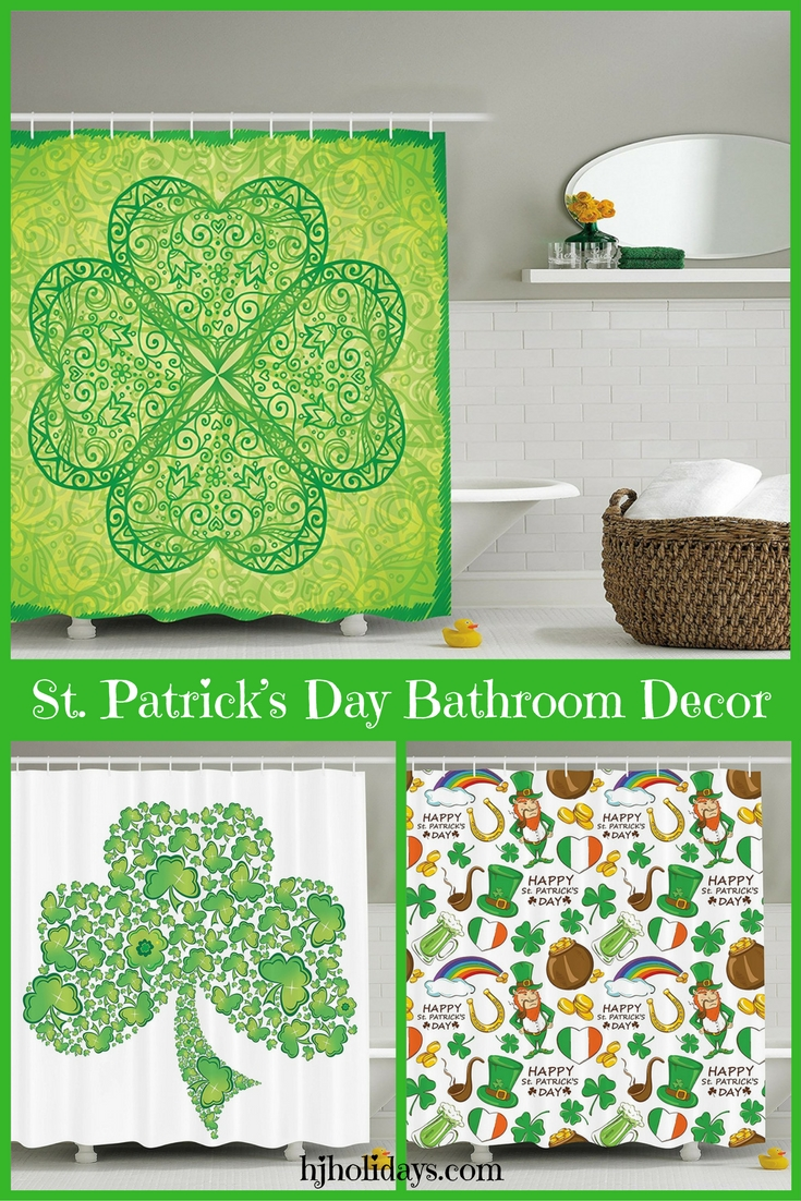 Green Irish Shamrock St. Patricks Day Bathroom Decor