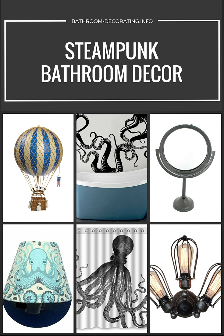 Chevron bathroom curtain - Steampunk Bathroom Decor